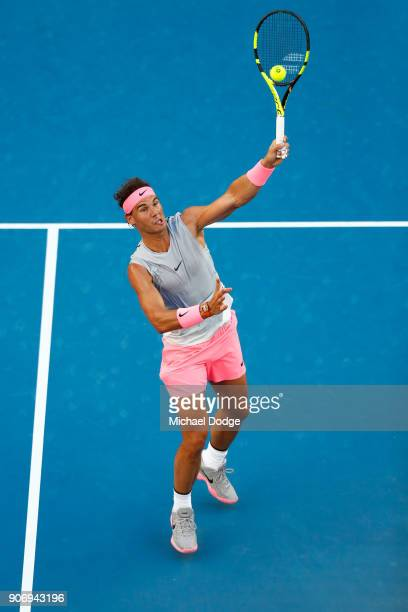 Rafael Nadal of Spain plays a forehand volley in his third round match against Damir Dzumhur of Bosnia and Herzogovina on day five of the 2018...