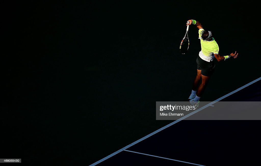 Rafael Nadal of Spain plays a match against Fernando Verdasco of Spain during Day 7 of the Miami Open presented by Itau at Crandon Park Tennis Center on March 29, 2015 in Key Biscayne, Florida.