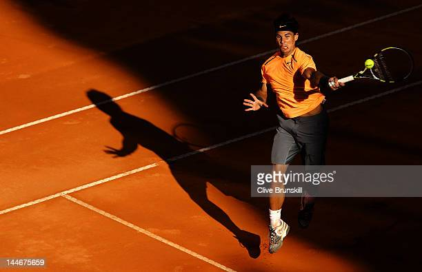 Rafael Nadal of Spain plays a running forehand volley against Marcel Granollers of Spain in their third round match during day six of the...