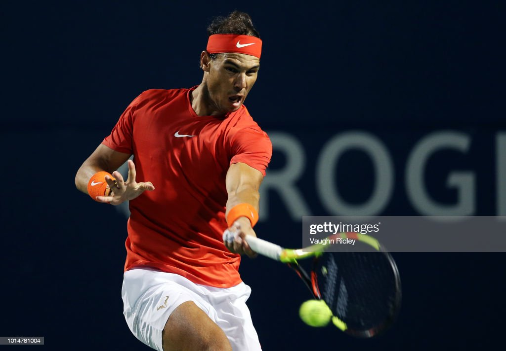 Rafael Nadal of Spain plays a shot against Marin Cilic of Croatia during a quarter final match on Day 5 of the Rogers Cup at Aviva Centre on August 10, 2018 in Toronto, Canada.