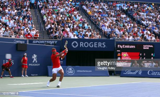 Rafael Nadal of Spain plays a shot against Stefanos Tsitsipas of Greece during the final match on Day 7 of the Rogers Cup at Aviva Centre on August...