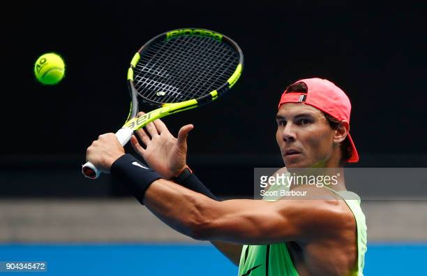 Rafael Nadal of Spain plays a shot during a practice session ahead of the 2018 Australian Open at Melbourne Park on January 13 2018 in Melbourne...