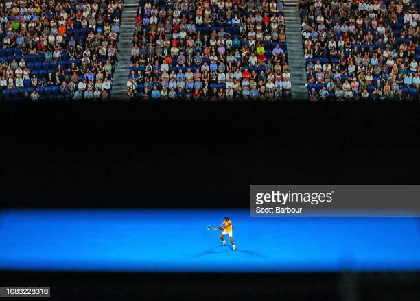 Rafael Nadal of Spain plays a shot during his second round match against Matthew Ebden of Australia during day three of the 2019 Australian Open at...
