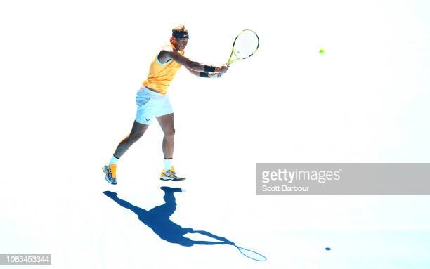 Rafael Nadal of Spain plays a shot in his fourth round match against Tomas Berdych of the Czech Republic during day seven of the 2019 Australian Open...