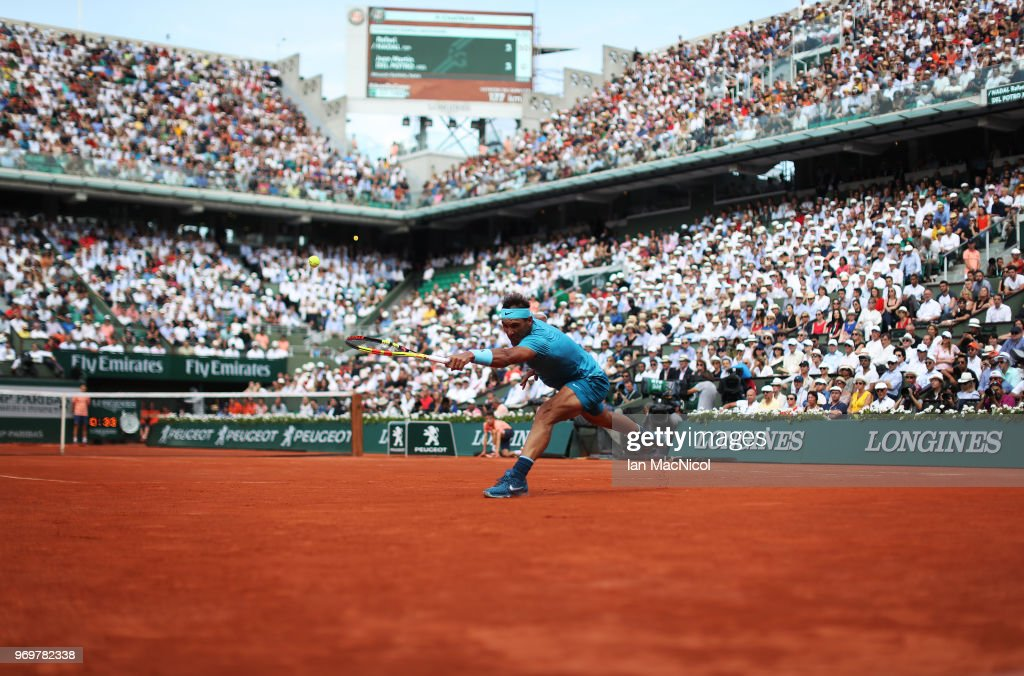 Rafael Nadal of Spain plays a shot in his Men's Singles Semi Final match against Juan Martin del Potro of Argentina during day thirteen of the 2018 French Open at Roland Garros on June 8, 2018 in Paris, France.
