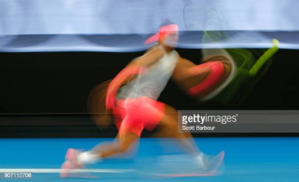 Rafael Nadal of Spain plays a shot in his third round match against Damir Dzumhur of Bosnia and Herzogovina on day five of the 2018 Australian Open...