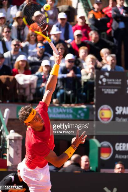 Rafael Nadal of Spain plays against Alexander Zverev of Germany during the quarterfinals of the Davis Cup 2018 at the plaza de toros de valencia.