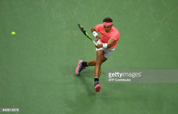 TOPSHOT Rafael Nadal of Spain plays against Dusan Lajovic of Serbia in their Men's Singles match during their US Open 2017 at the USTA Billie Jean...