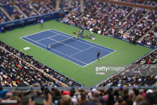 Rafael Nadal of Spain plays against Kevin Anderson of South Africa during their Men's Singles finals match on Day Fourteen of the 2017 US Open at the...