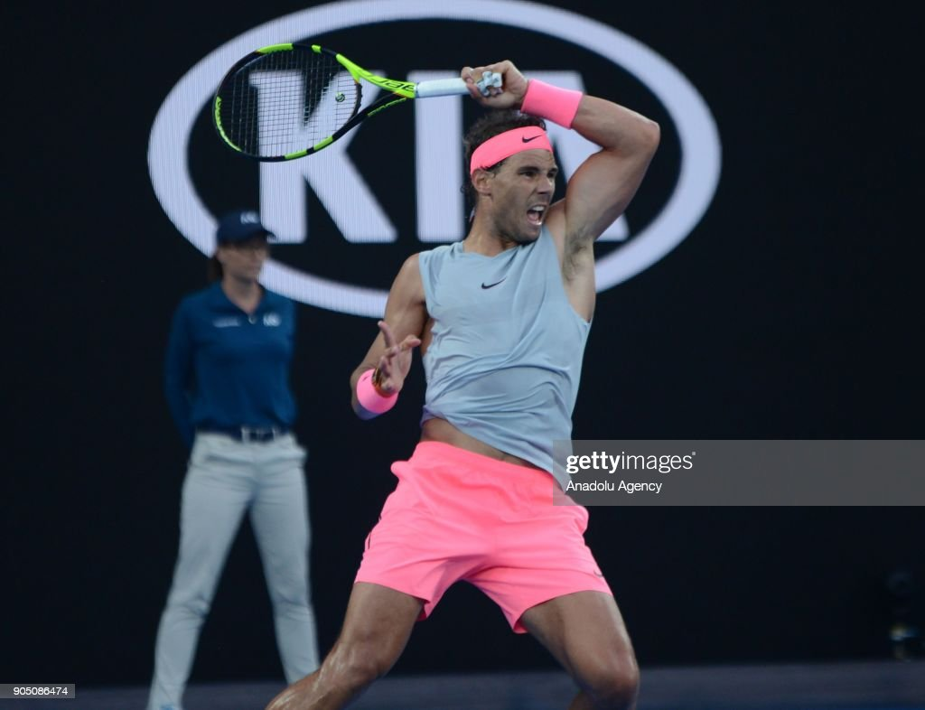 Rafael Nadal of Spain plays against Victor Estrella Burgos of Dominican Republic on day one of the 2018 Australian Open at Melbourne Park on January 15, 2018 in Melbourne, Australia.