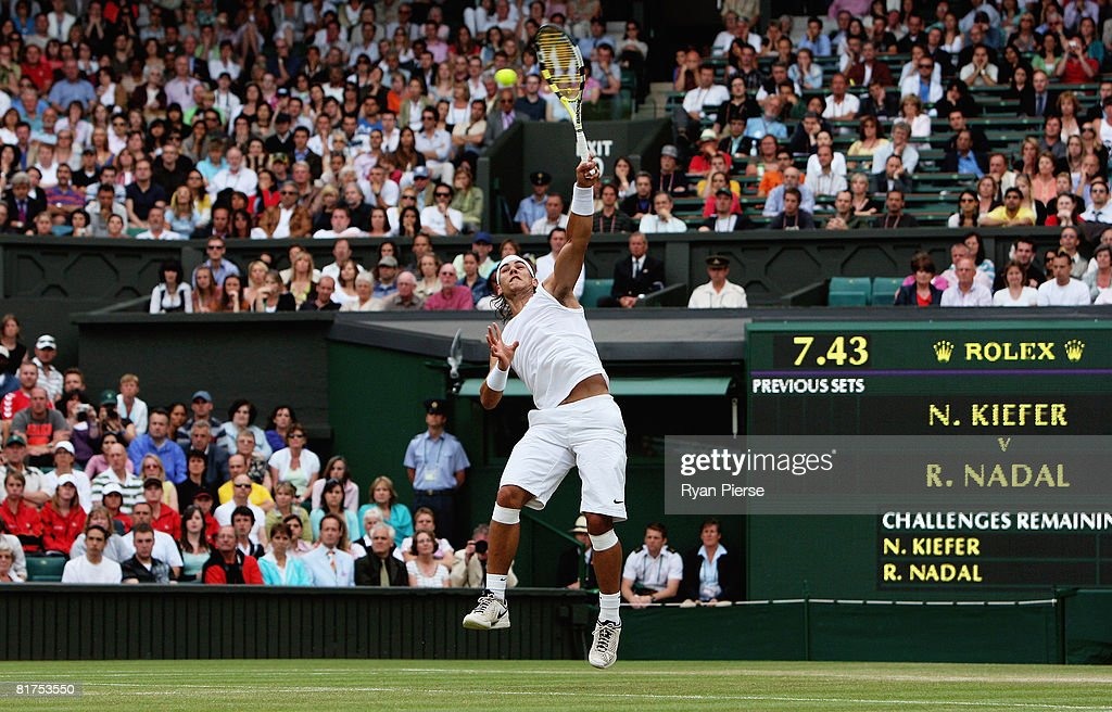 Rafael Nadal of Spain plays an overhhead smash during the men's singles round three match against Nicolas Kiefer of Germany on day six of the Wimbledon Lawn Tennis Championships at the All England Lawn Tennis and Croquet Club on June 28, 2008 in London, England.