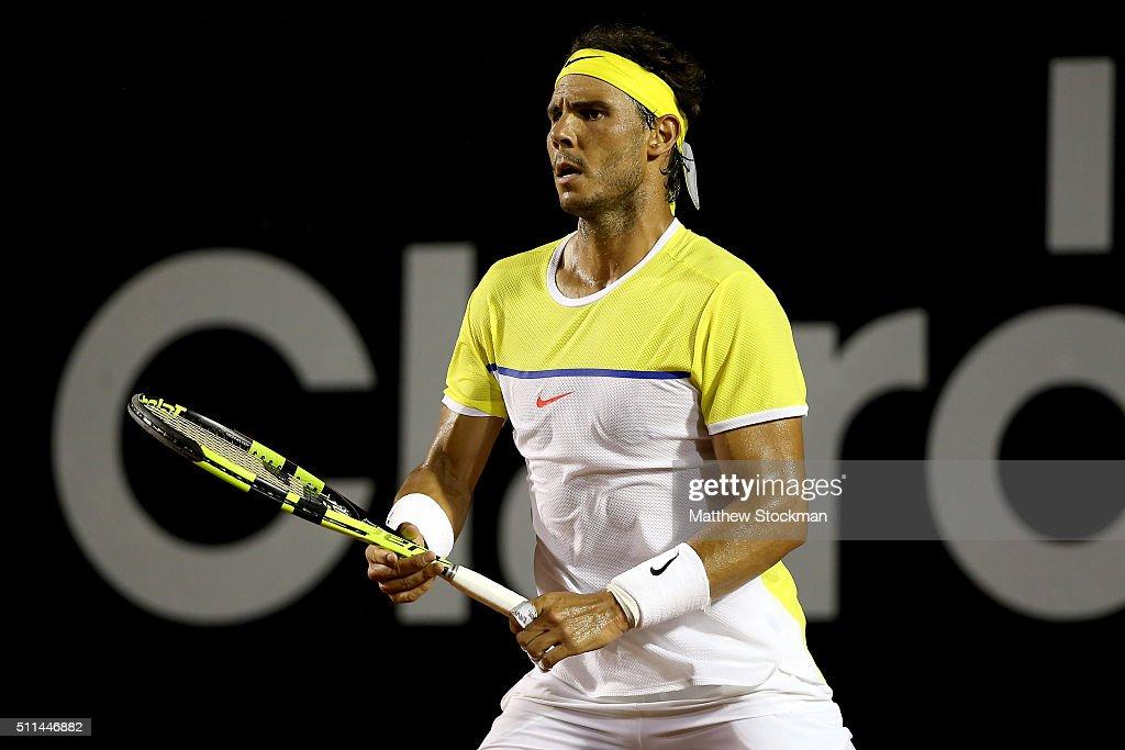 Rafael Nadal of Spain plays Palo Cuevas of Uraguay during the Rio Open at Jockey Club Brasileiro on February 20, 2016 in Rio de Janeiro, Brazil.