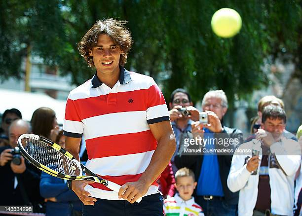 Rafael Nadal of Spain plays tennis in front of the Sagrada Familia to promote the ATP 500 World Tour Barcelona Open Banc Sabadell 2012 tennis...