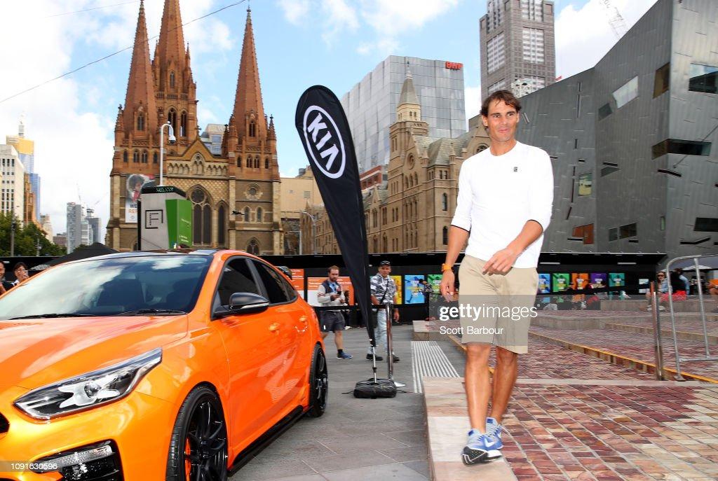 Rafael Nadal of Spain poses during a Kia Key handover