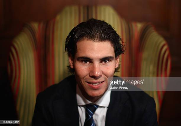 Rafael Nadal of Spain poses for a photo during the ATP World Tour Tennis Finals Media Day at the County Hall Marriott Hotel on November 19, 2010 in...