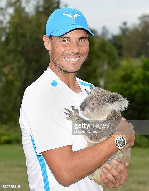 Rafael Nadal of Spain poses for a photo with a Koala on day two of the 2017 Brisbane International at Pat Rafter Arena on January 2 2017 in Brisbane...