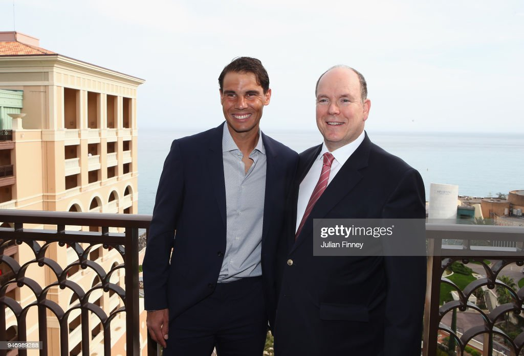 Rafael Nadal of Spain poses on his balcony with Albert II, Prince of Monaco during Day Two of the ATP Masters Series Monte Carlo Rolex Masters at Monte-Carlo Sporting Club on April 16, 2018 in Monte-Carlo, Monaco.