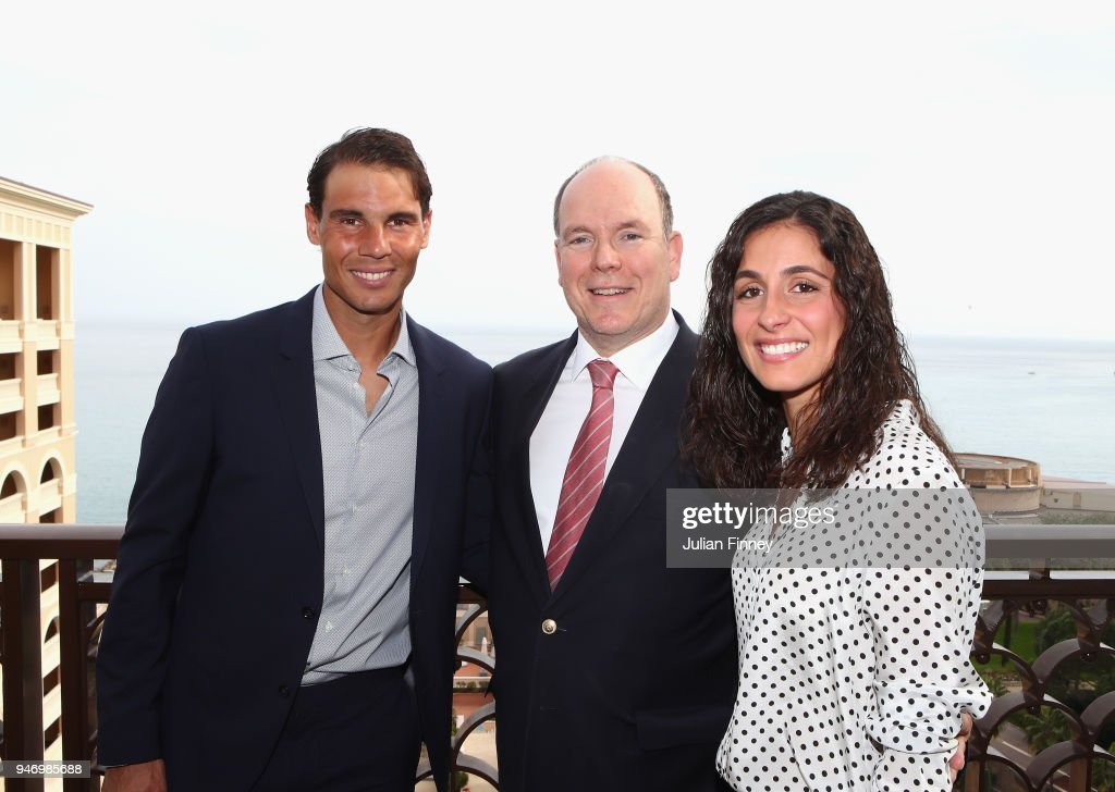 Rafael Nadal (L) of Spain poses on his balcony with his girlfriend Maria Francisca Perello and Albert II, Prince of Monaco during Day Two of the ATP Masters Series Monte Carlo Rolex Masters at Monte-Carlo Sporting Club on April 16, 2018 in Monte-Carlo, Monaco.