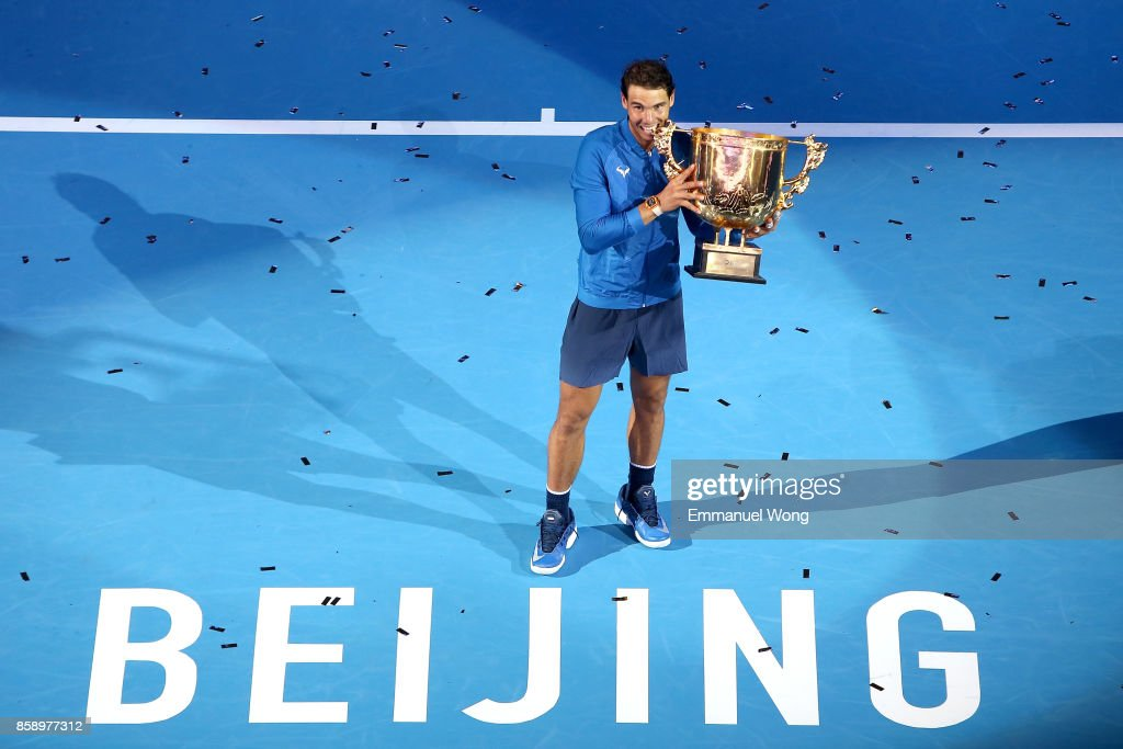 Rafael Nadal of Spain poses with his trophy after winning the Men's singles final match against Nick Kyrgios of Australia on day nine of the 2017 China Open at the China National Tennis Centre on October 8, 2017 in Beijing, China.