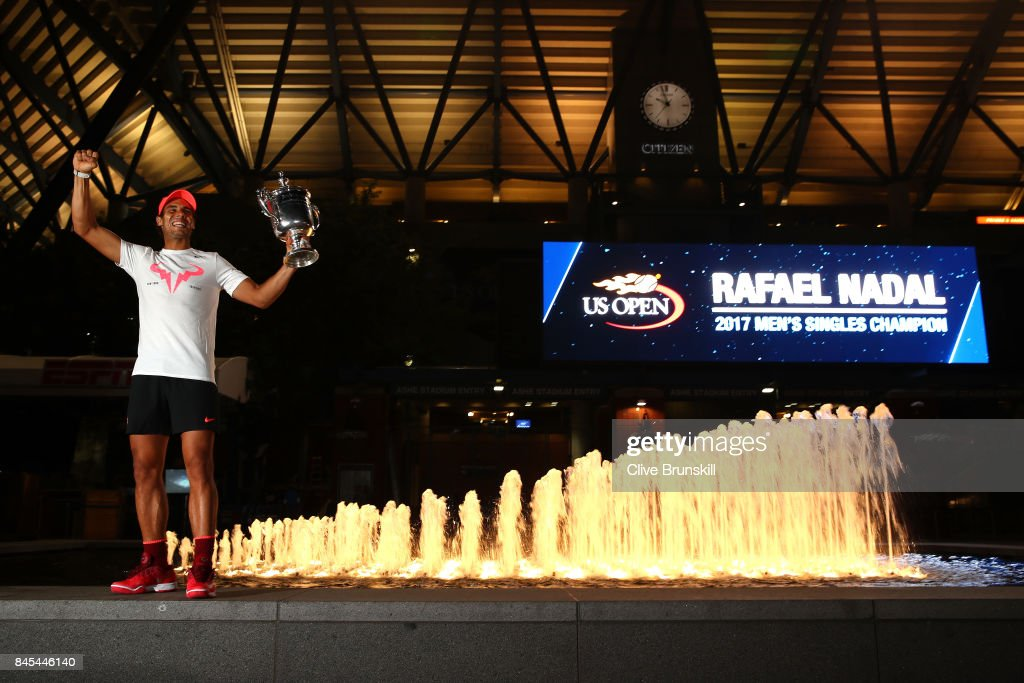 Rafael Nadal of Spain poses with the championship trophy after he defeated Kevin Anderson of South Africa in the Men's Singles Finals match on Day Fourteen of the 2017 US Open at the USTA Billie Jean King National Tennis Center on September 10, 2017 in the Flushing neighborhood of the Queens borough of New York City. Nadal defeated Anderson in the third set with a score of 6-3, 6-3, 6-4.