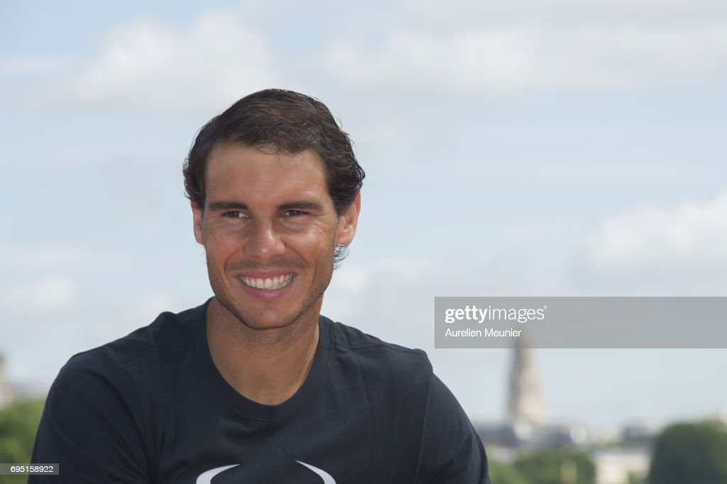 Rafael Nadal of Spain poses with the Mousquetaires Trophy after winning his 10th Roland against Stan Wawrinka of Switzerland on June 12, 2017 in Paris, France.