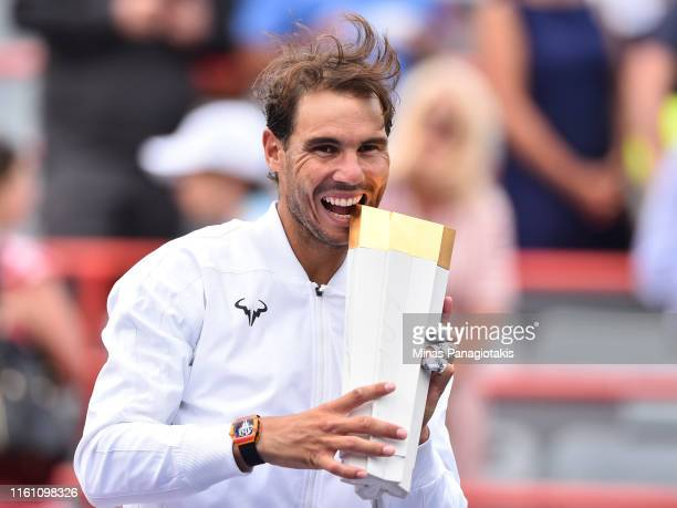 Rafael Nadal of Spain poses with the tournament trophy after his win against Daniil Medvedev of Russia during the mens singles final on day 10 of the...
