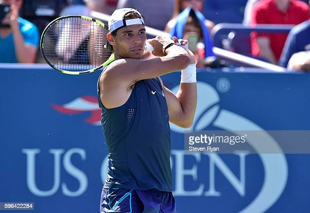 Rafael Nadal of Spain practices during Arthur Ashe Kids' Day prior to the start of the 2016 US Open at USTA Billie Jean King National Tennis Center...