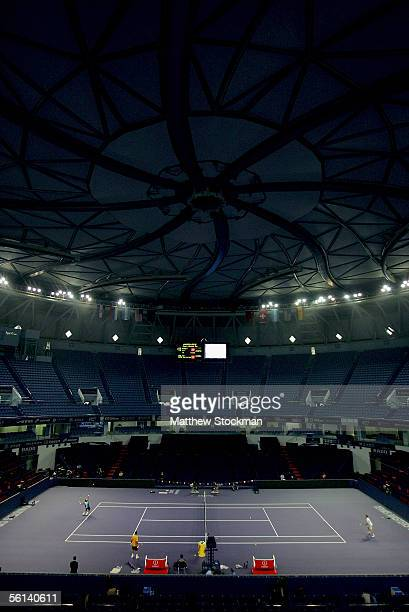 Rafael Nadal of Spain practises with David Nalbandian of Argentina during practice in preparation for The Masters Cup November 11 2005 at Qi Zhong...