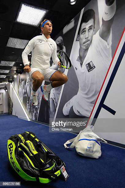 Rafael Nadal of Spain prepares in the player hallway before walking onto Arthur Ashe court to play against Lucas Pouille of France during his fourth...