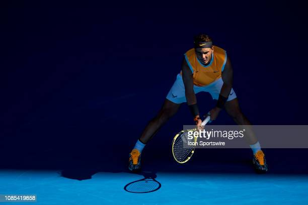 Rafael Nadal of Spain prepares returns the ball during day 7 of the Australian Open on January 20 2019, at Melbourne Park in Melbourne, Australia.