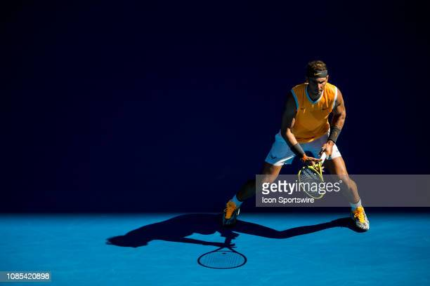 Rafael Nadal of Spain prepares to return the ball during day 7 of the Australian Open on January 20 2019, at Melbourne Park in Melbourne, Australia.