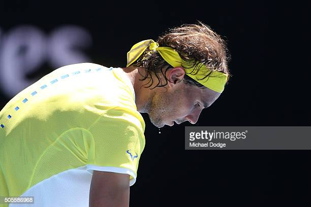 Rafael Nadal of Spain prepares to serve in his first round match against Fernando Verdasco of Spain during day two of the 2016 Australian Open at...