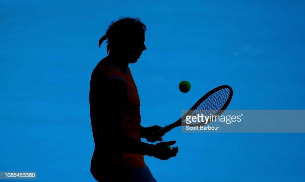 Rafael Nadal of Spain prepares to serve in his fourth round match against Tomas Berdych of the Czech Republic during day seven of the 2019 Australian...