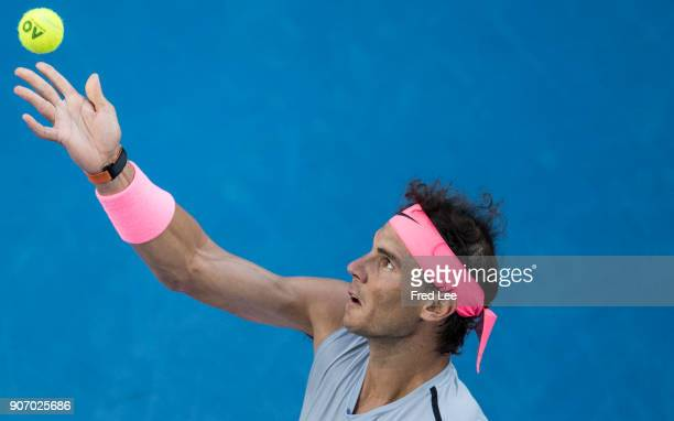 Rafael Nadal of Spain prepares to serve in his third round match against Damir Dzumhur of Bosnia and Herzogovina on day five of the 2018 Australian...