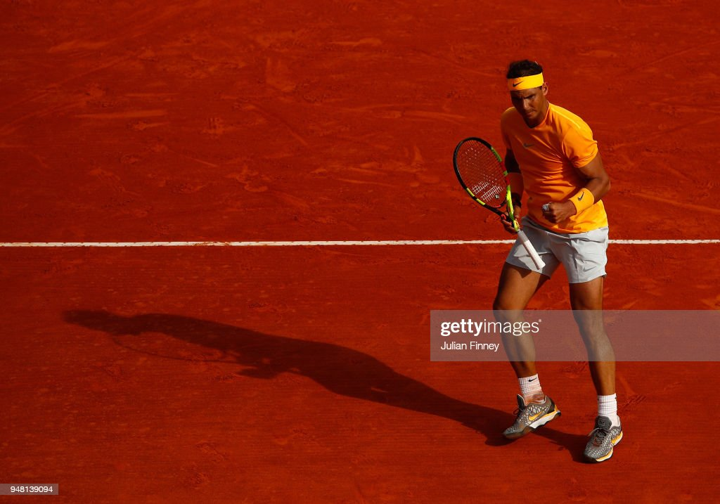 Rafael Nadal of Spain reacts after a point during his Mens Singles match against Aljaz Bedene of Slovenia at Monte-Carlo Sporting Club on April 18, 2018 in Monte-Carlo, Monaco.