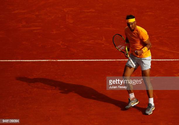 Rafael Nadal of Spain reacts after a point during his Mens Singles match against Aljaz Bedene of Slovenia at MonteCarlo Sporting Club on April 18...