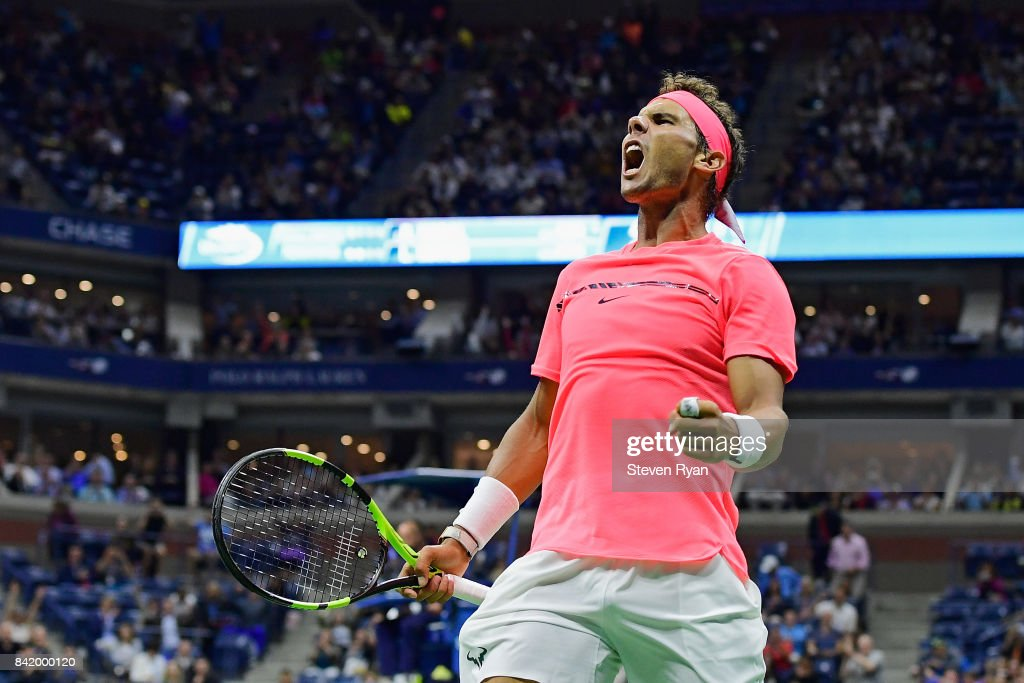 Rafael Nadal of Spain reacts after his third round match win over Leonardo Mayer of Argentina during their third round Men's Singles match on Day Six of the 2017 US Open at the USTA Billie Jean King National Tennis Center on September 2, 2017 in the Flushing neighborhood of the Queens borough of New York City.