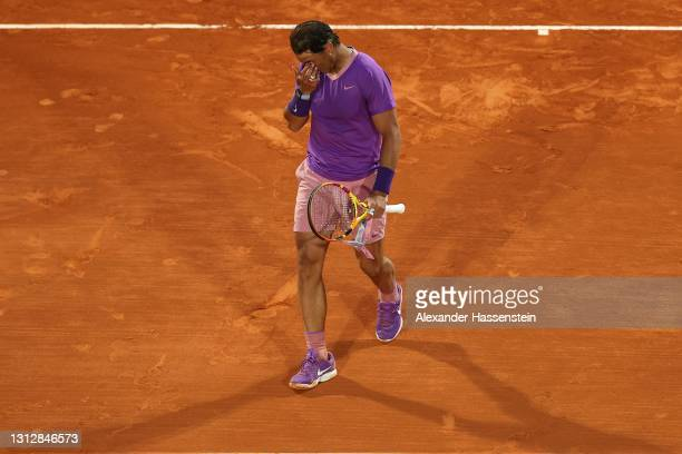 Rafael Nadal of Spain reacts after loosing his match against Andrey Rublev of Russia during day six of the Rolex Monte-Carlo Masters at Monte-Carlo...