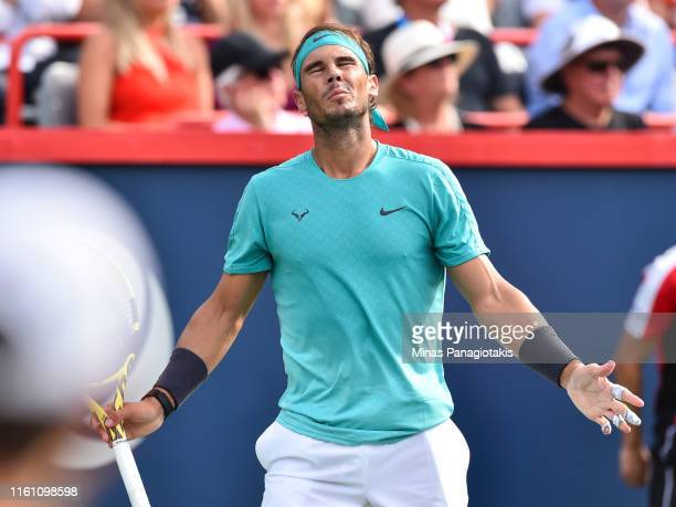 Rafael Nadal of Spain reacts after losing a point against Daniil Medvedev of Russia during the mens singles final on day 10 of the Rogers Cup at IGA...