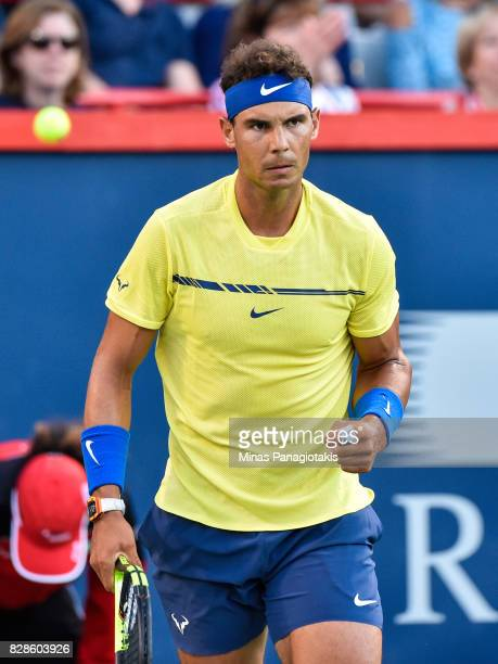 Rafael Nadal of Spain reacts after scoring a point against Borna Coric of Croatia during day six of the Rogers Cup presented by National Bank at...