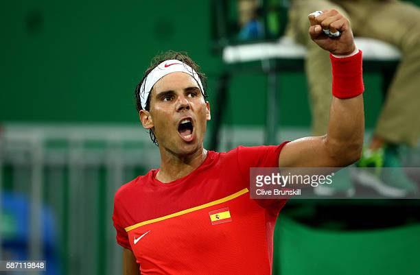 Rafael Nadal of Spain reacts after winning a point against Federico Delbonis of Argentina in their first round match on Day 2 of the Rio 2016 Olympic...