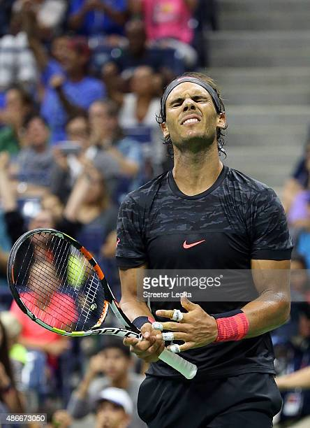 Rafael Nadal of Spain reacts against Fabio Fognini of Italy on Day Five of the 2015 US Open at the USTA Billie Jean King National Tennis Center on...