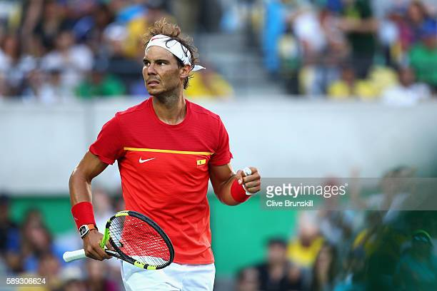 Rafael Nadal of Spain reacts against Juan Martin Del Potro of Argentina during the Men's Singles Semifinal Match on Day 8 of the Rio 2016 Olympic...