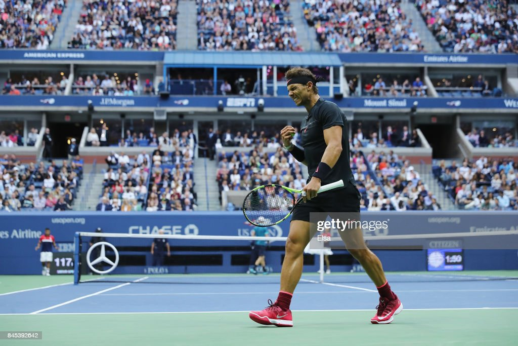 Rafael Nadal of Spain reacts against Kevin Anderson of South Africa during their Men's Singles finals match on Day Fourteen of the 2017 US Open at the USTA Billie Jean King National Tennis Center on September 10, 2017 in the Flushing neighborhood of the Queens borough of New York City.