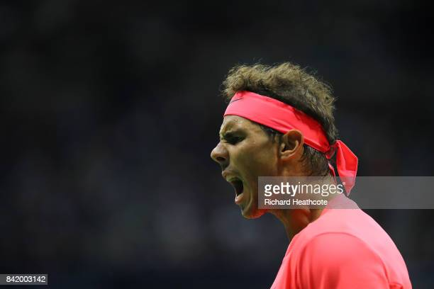 Rafael Nadal of Spain reacts against Leonardo Mayer of Argentina during their third round Men's Singles match on Day Six of the 2017 US Open at the...