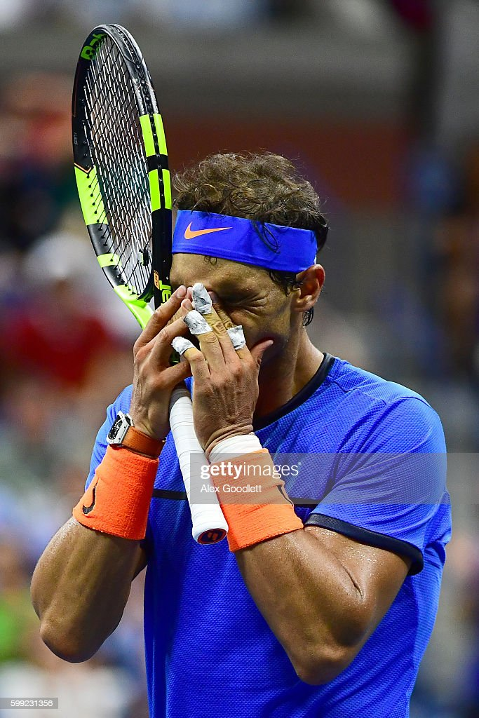 Rafael Nadal of Spain reacts against Lucas Pouille of France during his fourth round Men's Singles match on Day Seven of the 2016 US Open at the USTA Billie Jean King National Tennis Center on September 4, 2016 in the Flushing neighborhood of the Queens borough of New York City.