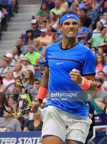 Rafael Nadal of Spain reacts against Lucas Pouille of France during his fourth round Men's Singles match on Day Seven of the 2016 US Open at the USTA...