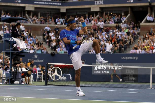 Rafael Nadal of Spain reacts against Novak Djokovic of Serbia during the Men's Final on Day Fifteen of the 2011 US Open at the USTA Billie Jean King...