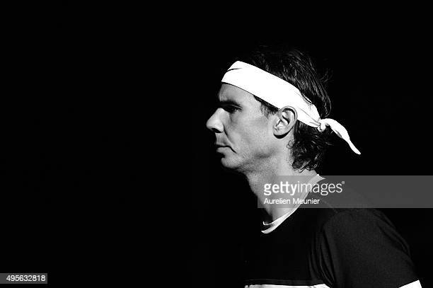 Rafael Nadal of Spain reacts as he enters the court before his Men's second round match against Lukas Rosol of Czech Repubilc on day three of the BNP...