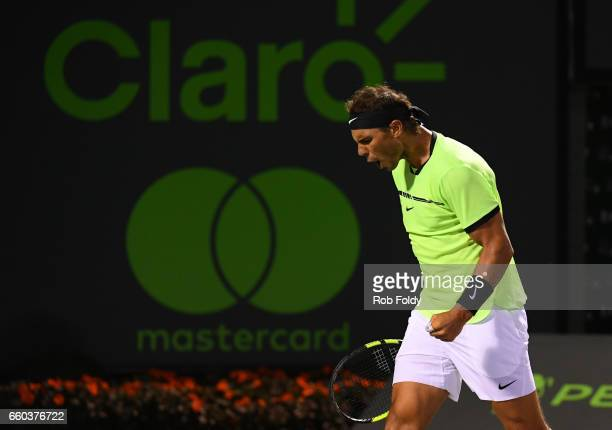 Rafael Nadal of Spain reacts during a match against Jack Sock at Crandon Park Tennis Center on March 29 2017 in Key Biscayne Florida